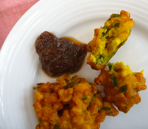 Indian corn fritters (pakoras)
