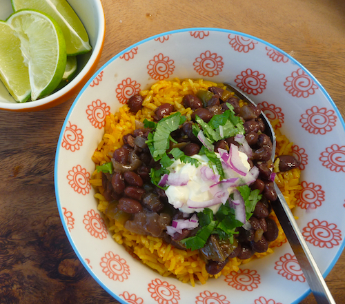 Black beans, Spanish rice burrito bowl