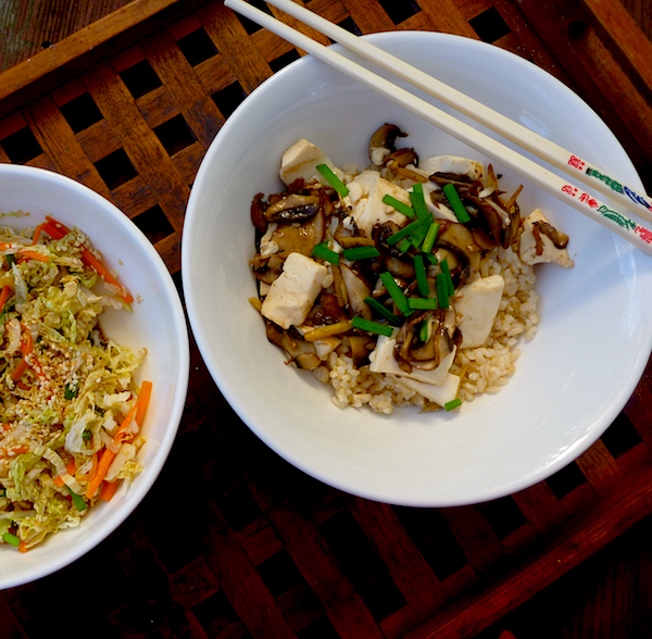 Brown rice bowl with mushrooms, tofu, ginger and wombok slaw
