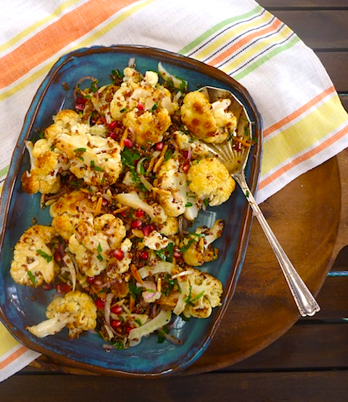 Roasted cauliflower, fennel, pomegrante and red quinoa salad