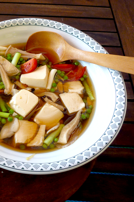 Braised Tofu with Shiitake Mushrooms, tomatoes and Peas