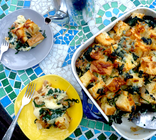 Vegetarian breakfast cheese and spinach strata