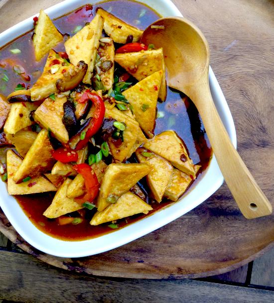 Sichuan-style pan fried tofu in 'fish' fragrant sauce (Vegan)