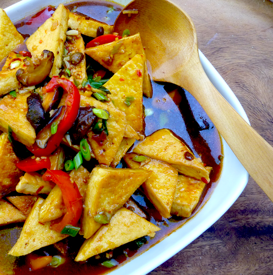 Sichuan-style pan fried tofu in 'fish' fragrant sauce (vegan)