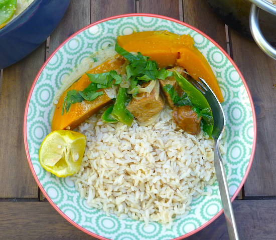 Thai-style pumpkin and tempeh curry with brown rice