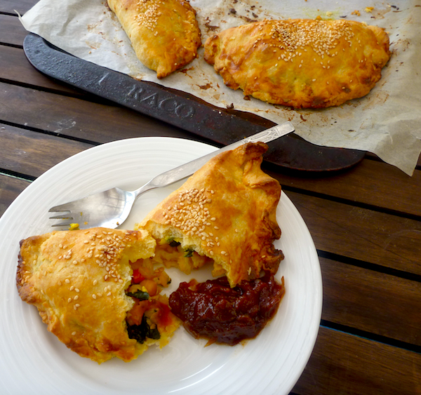 Indian spiced vegetable pasties (vegetarian)