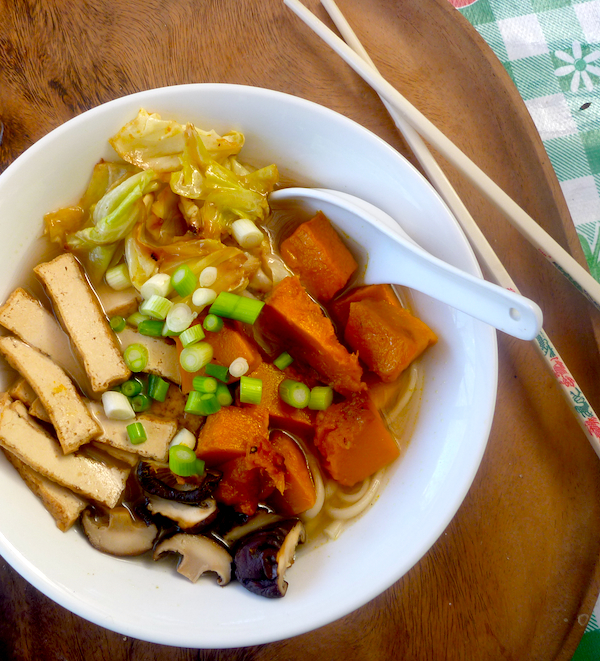 Udon noodle miso soup with roasted pumpkin, cabbage and shitake mushrooms
