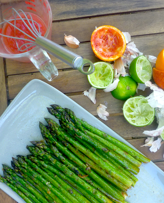 Grilled Asparagus with blood orange mojo sauce
