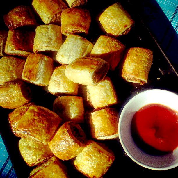 Homemade vegetarian party sausage rolls