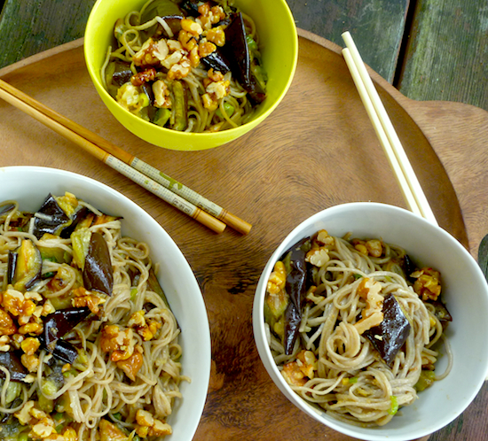 Miso eggplant with soba noodles and walnuts #vegan