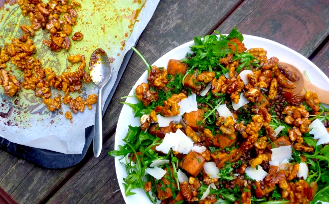 Spiced sweet potato, puy lentils & rocket salad with honey roasted walnuts