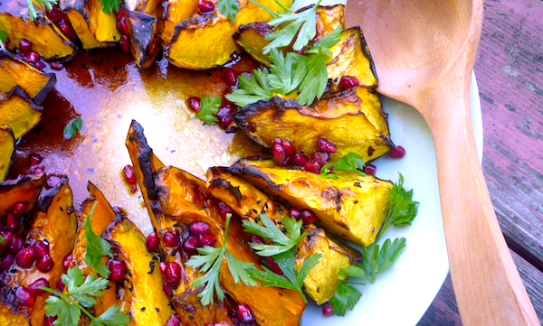Roast pumpkin with pomegranate & nigella seeds