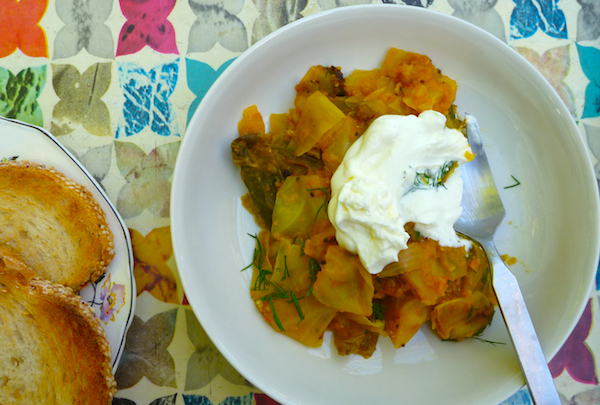 Julie Sahni's hearty red lentil and cabbage stew #vegan