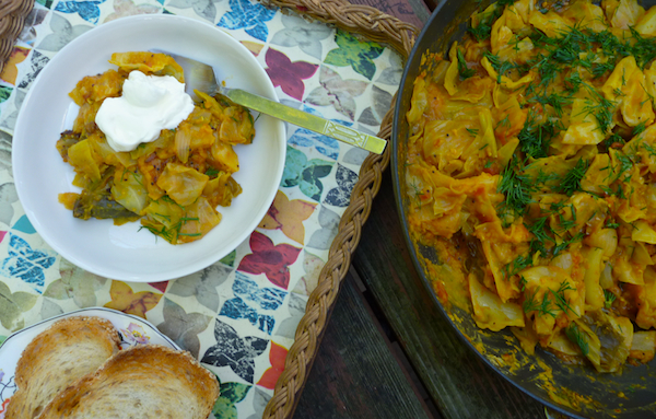 Red lentil and cabbage stew