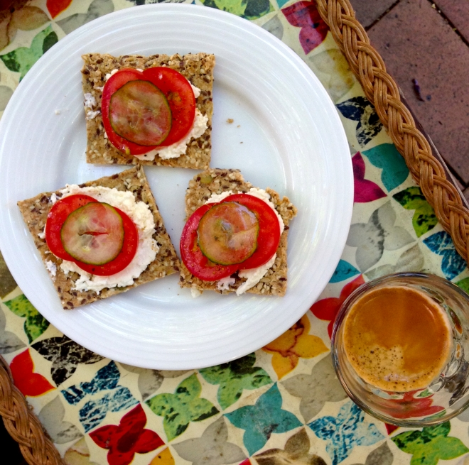Swedish seed crackers with cottage cheese, tomato and pickled cucumber #breakfast