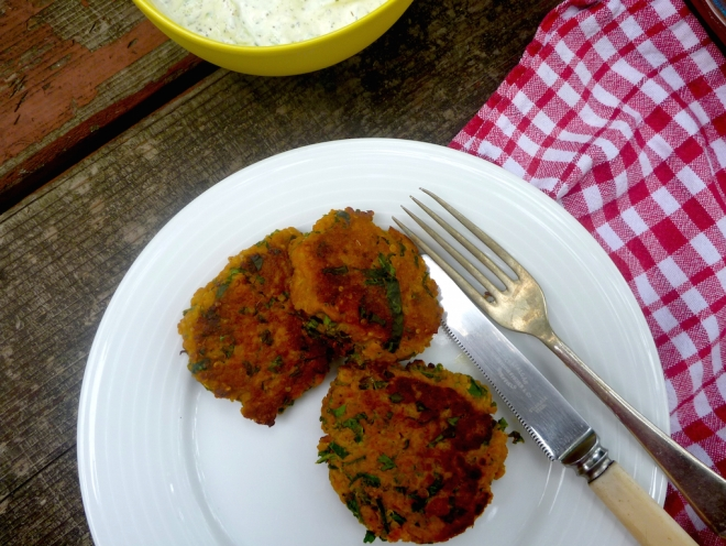 Sweet potato, quinoa, kale fritters