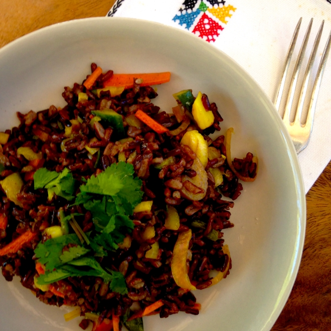 Black rice salad with carrot and cucmber pickle