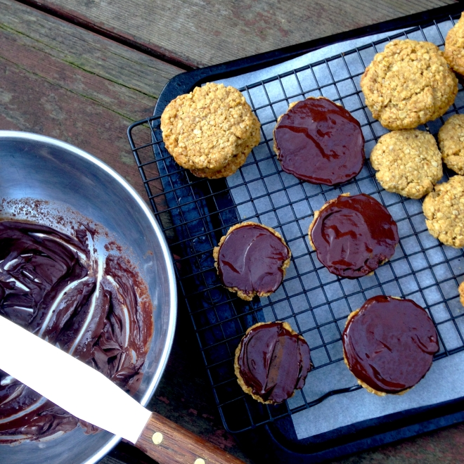 Homemade chocolate hobnobs