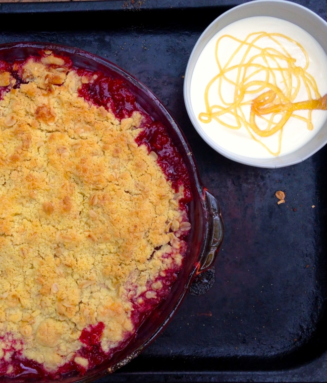 Stupendous Strawberry and rhubarb crumble