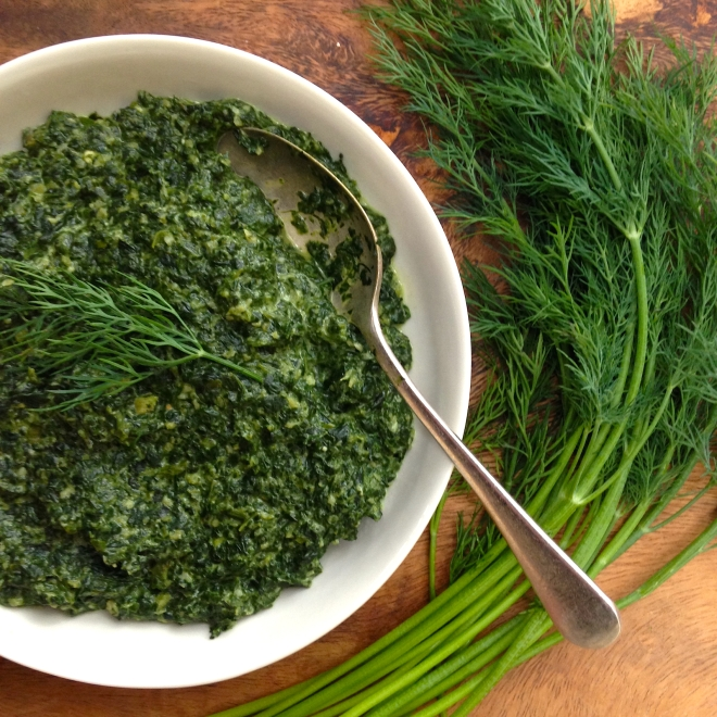 Indian creamed spinach with dill
