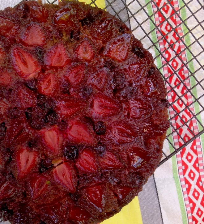Strawberry and blueberry upside down fruit cake