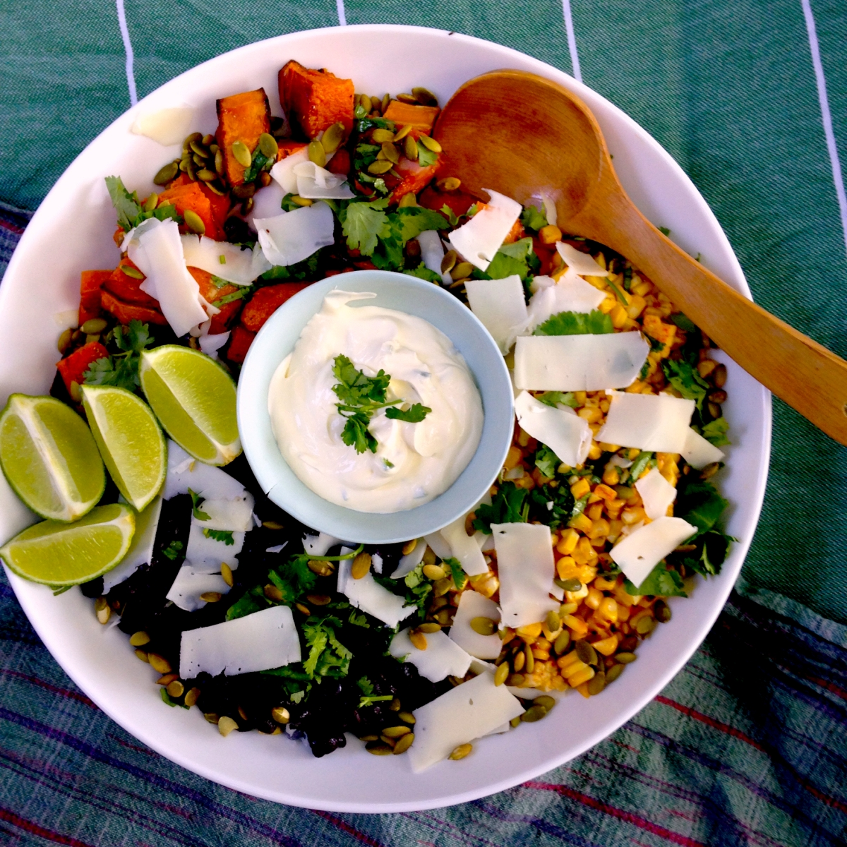 Barbecued corn and roasted butternut pumpkin with black beans and jalepeno sour cream