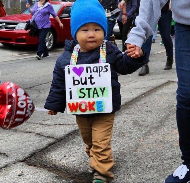 Women's march sign - Stay woke