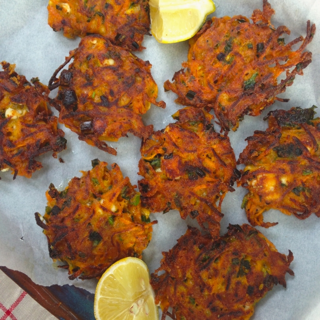 Carrot, feta and coriander fritters