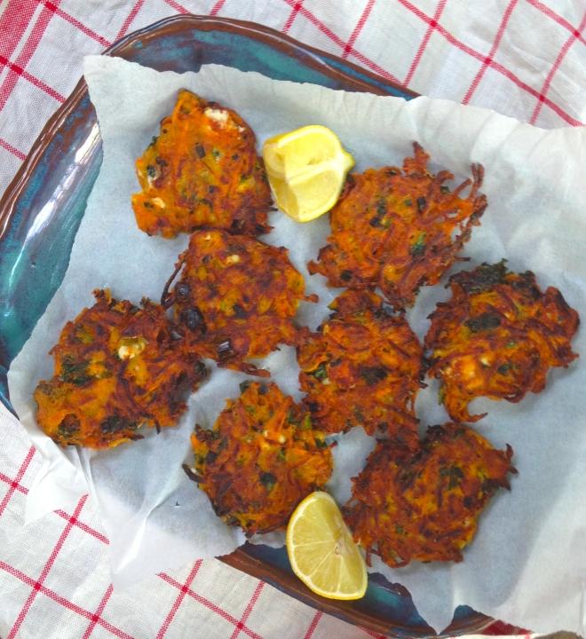Carrot, feta, coriander fritters #vegetarian #appetizer