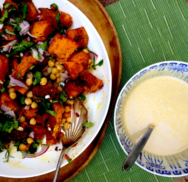 Moro's warm pumpkin and chickpea salad with tahini dressing #winter #vegan #recipe