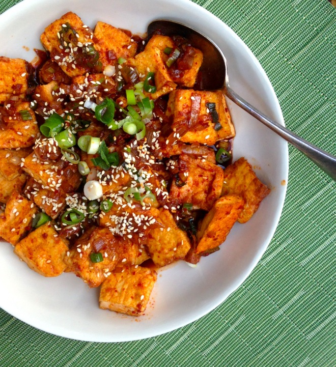 Korean braised tofu in spicy sauce #vegan