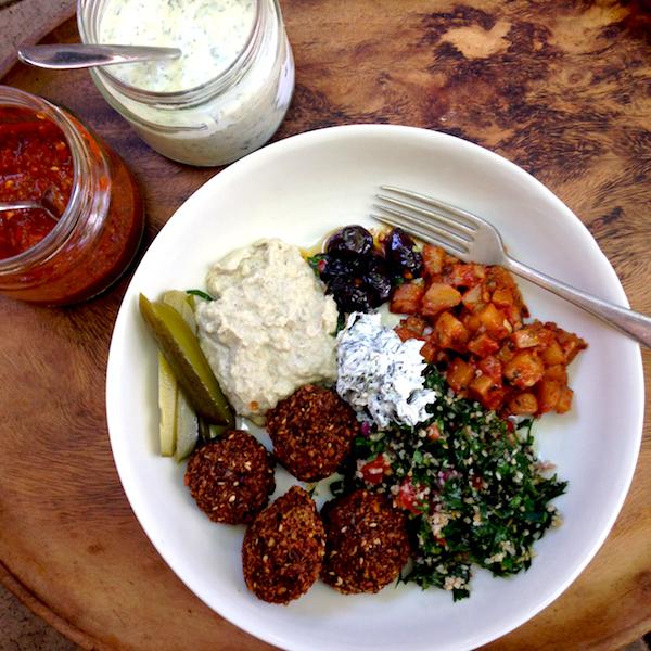 Falafel plate with Armenian potatoes #vegetarian #feast