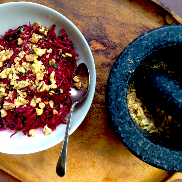 Grated beetroot salad with walnuts and cumin #vegan #picnics