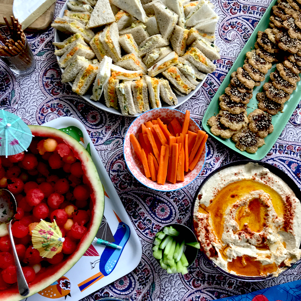 #Summer #Children's #partyfood Melon bowl, hummus, za'artar biscuits and party sandwiches
