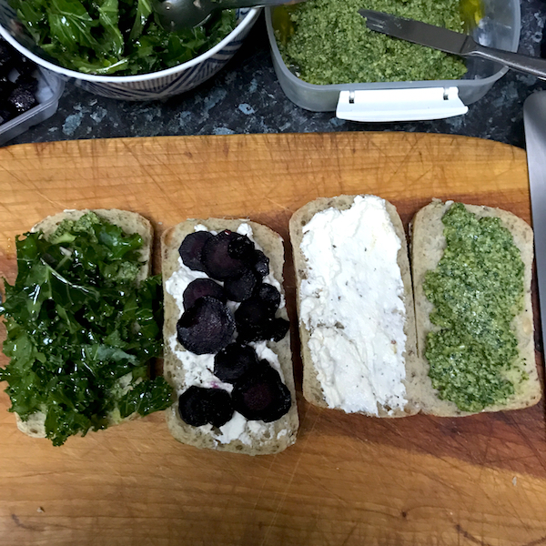 Ricotta sandwiches with carrots, kale and walnut-parsley pesto
