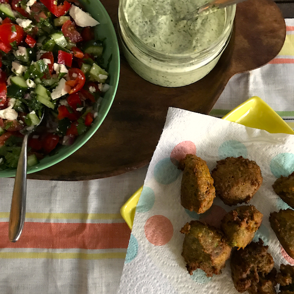 Broad bean and chickpea fritters with green tahini