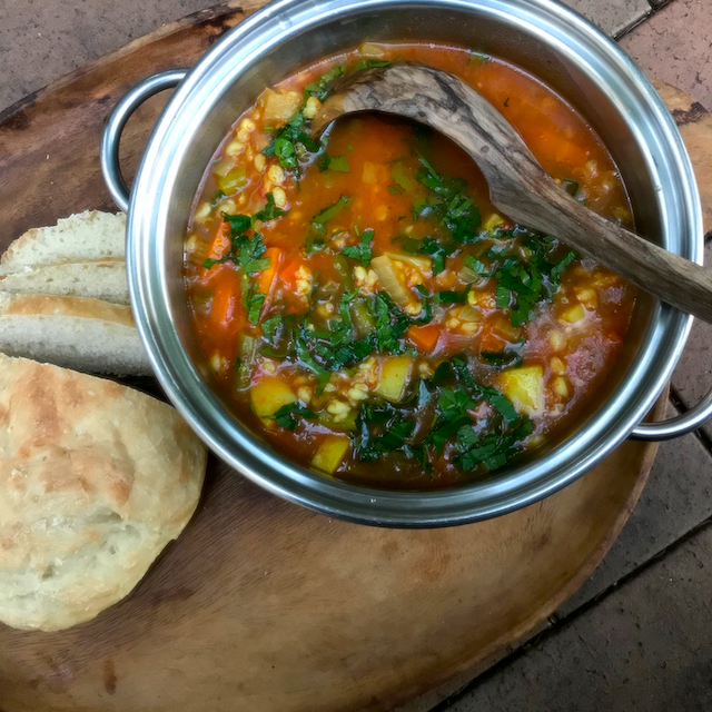 Vegetable and barley soup - vegan